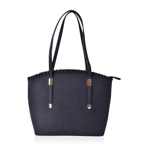 Black Colour Tote Bag with External Zipper Pocket (Size 37x28x27x11 Cm)
