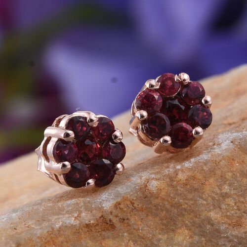 Mahenge Spinel (Rnd) Floral Stud Earrings (with Push Back) in Rose Gold Overlay Sterling Silver 1.000 Ct.