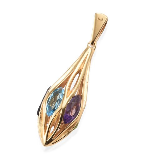 Amethyst (Mrq), Mozambique Garnet, Brazilian Smoky Quartz, Hebei Peridot, Blue Topaz and Citrine Pendant in 14K Gold Overlay Sterling Silver 3.25 Ct