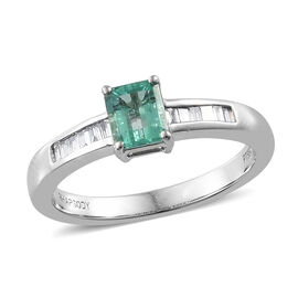 RHAPSODY 950 Platinum AAAA Boyaca Colombian Emerald (Oct), Diamond (VS/E-F) Ring 0.80Ct.