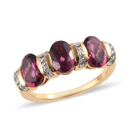 Rhodolite Garnet (Ovl), Natural White Cambodian Zircon Ring in 14K Gold Overlay Sterling Silver 3.00