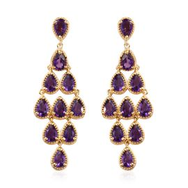 Zambian Amethyst (Pear) Chandelier Earrings (with Push Back) in 14K Gold Overlay Sterling Silver 7.5