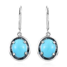 Arizona Sleeping Beauty Turquoise (Ovl), Diamond Lever Back Earrings in Platinum Overlay Sterling Si
