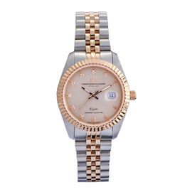 CHRISTOPHE DUCHAMP: Elysees Swiss Movement Watch With Diamonds  in Silver and Rose Gold Tone Stianle