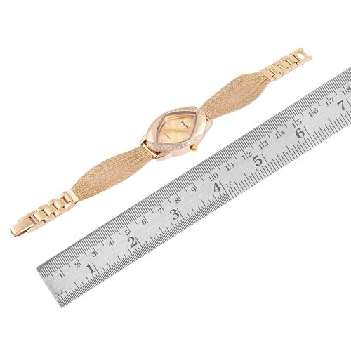 STRADA Japanese Movement Sunshine Dial Watch with White Austrian Crystal in Yellow Gold Tone