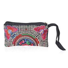 Embroidered Butterfly and Flower Pattern Clutch Bag with Zipper Closure (Size 18.5x10 Cm) - Multi