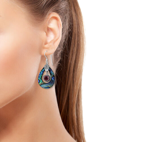 Royal Bali Collection African Ruby (Rnd), Abalone Shell Drop Hook Earrings in Sterling Silver 3.791 Ct.