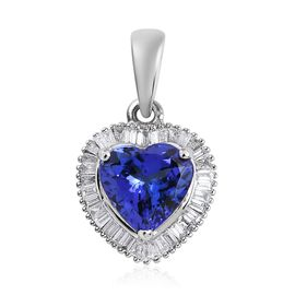 RHAPSODY 950 Platinum AAAA Tanzanite (Hrt), Diamond (VS/E-F) Pendant  1.75 Ct.