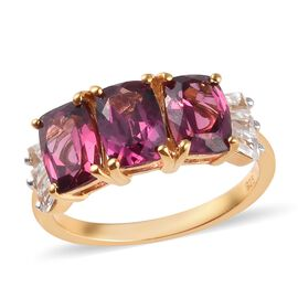 Rhodolite Garnet (Cush), Natural Cambodian Zircon Ring in 14K Gold Overlay Sterling Silver 3.75 Ct.