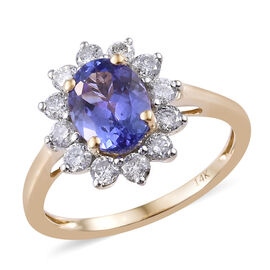 New York Close Out- 14K Yellow Gold AA Tanzanite (Ovl 8x6mm, 1.25 Ct) and Diamond Ring 1.750 Ct. (Di