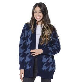 LA MAREY Houndstooth Pattern Blue Cardigan (Size Upto 18)