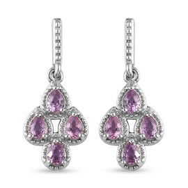 Pink Sapphire Dangle Earrings (with Push Back) in Platinum Overlay Sterling Silver 1.36 Ct.