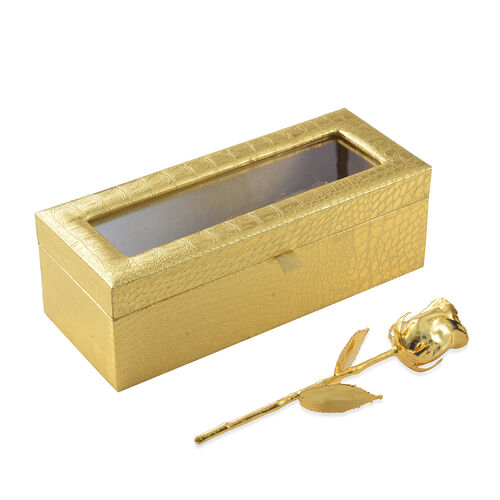 Gold Plated Eternal Hand Picked Rose in Golden Box Size 15 Cm