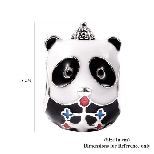 Simulated White and Black Diamond Panda Enamelled Charm in Sterling Silver