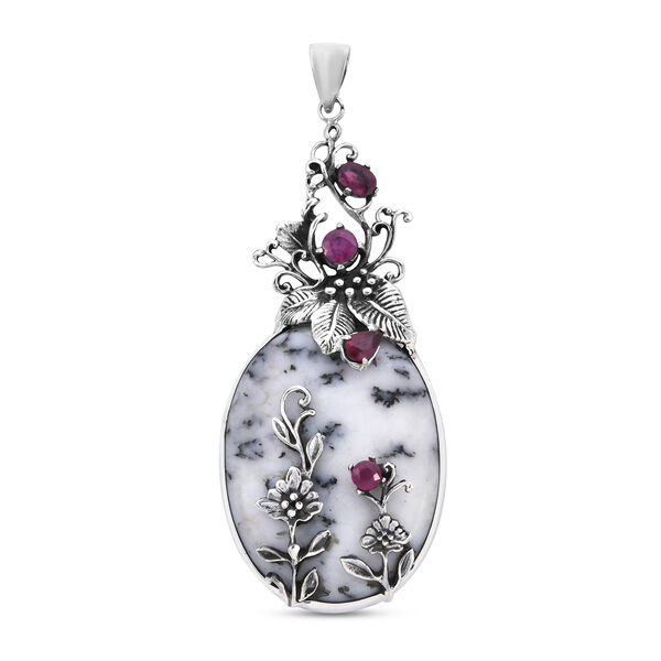 Bali Collection Extremely Rare Size Dendritic Agate and  Ruby Sterling Silver Pendant TGW 100.830 ct