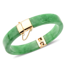 207 Ct Green Jade Vintage Design Bangle in Gold Plated Sterling Silver 7.5 Inch