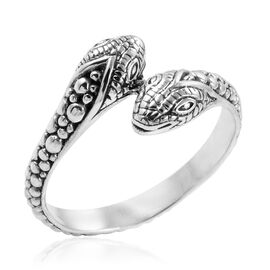 Royal Bali Collection Sterling Silver Snake Crossover Ring