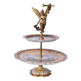 Hand Made Museum Collection - Bronze Angel Stand with 2 Hand Painted Porcelain Plates (Size 43x13 Cm