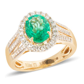 ILIANA 18K Yellow Gold AAAA Boyaca Colombian Emerald, Diamond (SI-G-H) Ring 1.880 Ct.