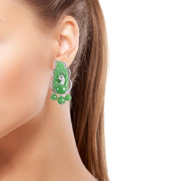 Green Jade, Natural White Cambodian Zircon and Boi Ploi Black Spinel Leaf Earrings (with Push Back) in Sterling Silver 67.290 Ct., Silver wt. 7.80 Gms