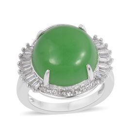 Green Jade (Rnd 11.00 Ct), White Topaz Ring in Rhodium Plated Sterling Silver 11.920 Ct.