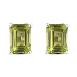 Peridot Earring in Platinum Overlay Sterling Silver 1.70 ct  1.700  Ct.