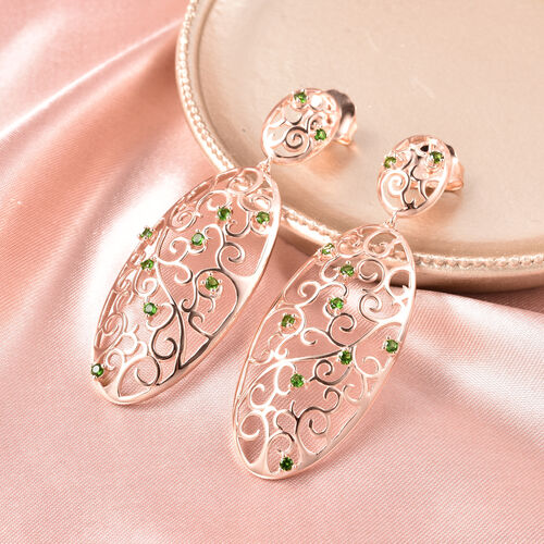 LucyQ Victorian Era Collcetion - Russian Diopside Filigree Earrings (with Push Back) in Rose Gold Overlay Sterling Silver