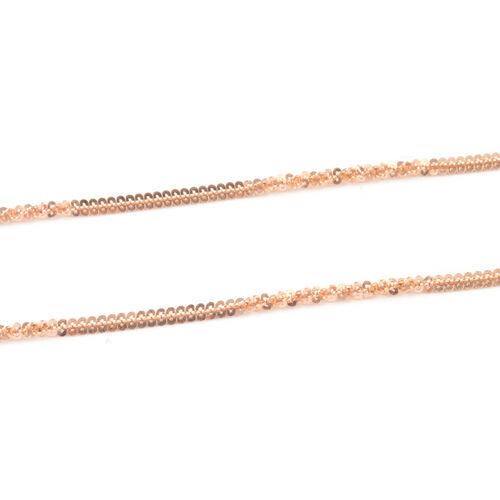 Rose Gold Overlay Sterling Silver Alternate Margarita Chain (Size 30 Inch/ 76 Cm )