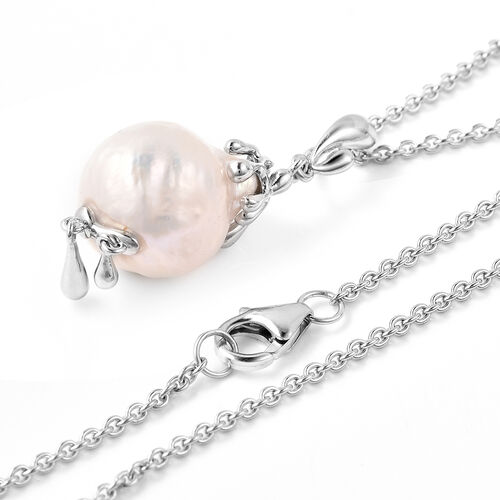 LucyQ - Freshwater White Baroque Pearl Drop Pendant With Chain (Size 30) in Rhodium Overlay Sterling Silver