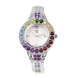 EON 1962 Swiss Movement Multi Gemstone Water Resistant Filigree Bracelet Watch (Size 7.5 with Extend