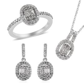 3 Piece Set - Diamond (Rnd and Bgt) Ring, Earrings and Pendant with Chain in Platinum Overlay Sterli