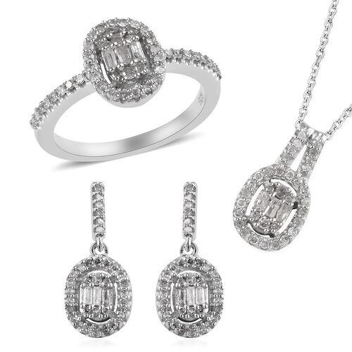 3 Piece Set 1 Ct Diamond Cluster Ring and Earrings and Pendant with Chain in Platinum Plated Silver