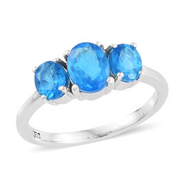 1.50 Carat Neon Apatite 3 Stone Ring in Platinum Plated Sterling Silver