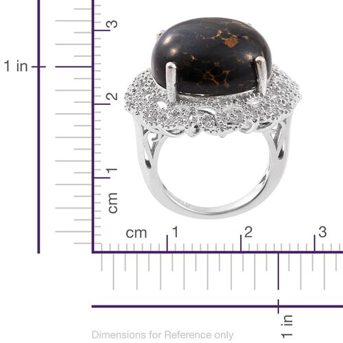 Arizona Mojave Black Turquoise (Rnd) Ring in Platinum Overlay Sterling Silver 16.000 Ct.