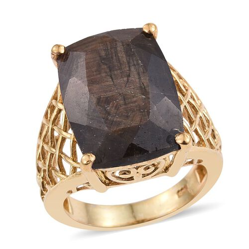 Natural Zawadi Golden Sheen Sapphire (Cush) Ring in 14K Gold Overlay Sterling Silver 22.250 Ct.