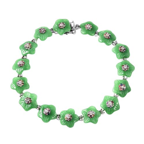 43.16 Ct Carved Green Jade and Multi Sapphire Floral Bracelet in Rhodium Plated Silver 6.75 Inch