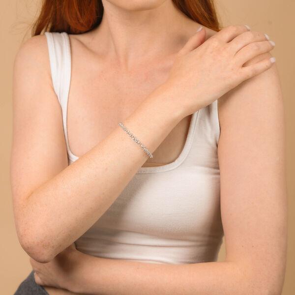 JCK Vegas Collection Rhodium Overlay Sterling Silver Round Belcher Bracelet (Size 7.5)