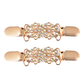 Set of 2 White AB Crystal Clip Connector in Rose Gold Tone