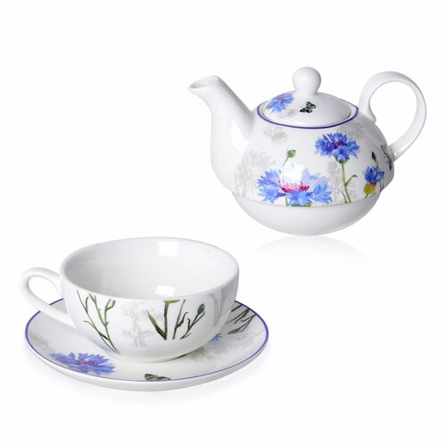 3 Piece Set - Blue Cornflower with Butterfly Hydrangea with Bird Pattern Porcelain Tea Set (1 Pot, 1 Mug and 1 Saucer)