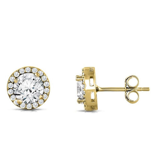 ELANZA Simulated Diamond Stud Earrings (with Push Back) in Yellow Gold Overlay Sterling Silver