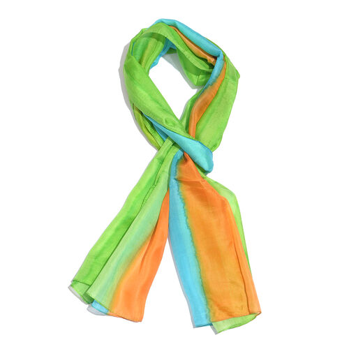 100% Mulberry Silk Blue, Green and Orange Colour Hand Screen Printed Scarf (Size 180X50 Cm)