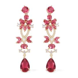 Simulated Ruby and Simulated Diamond Drop Earrings With Push Back