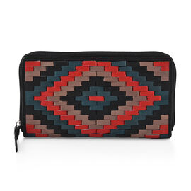 100% Genuine Leather - RFID Full Zip Hand Weaved Wallet (19  X 2.5  X 13 cm) - Black, Red and Multi