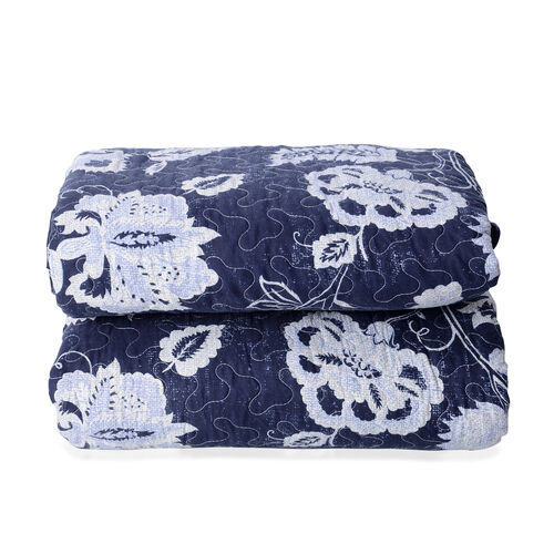 High-quality Printed Microfiber and Sherpa with White Floral Pattern Quilt (Size 260x240 Cm) with Blue Colour