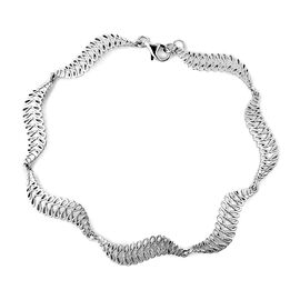 LucyQ Wave Bracelet in Rhodium Plated Sterling Silver 10.14 Grams 8 Inch