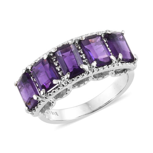 Amethyst (Oct) Five Stone Ring in Stainless Steel 2.500 Ct.