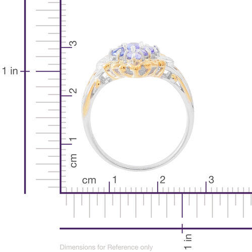 Designer Inspired Tanzanite (Ovl) Ring in Rhodium and Yellow Gold Overlay Sterling Silver 2.000 Ct.