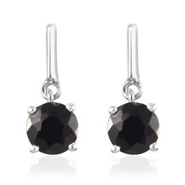 Elite Shungite (Rnd) Drop Earrings (with Push Back) in Platinum Overlay Sterling Silver 1.25 Ct.