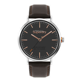 Superdry Oxford Round Dial Brown Genuine Leather Strap Watch