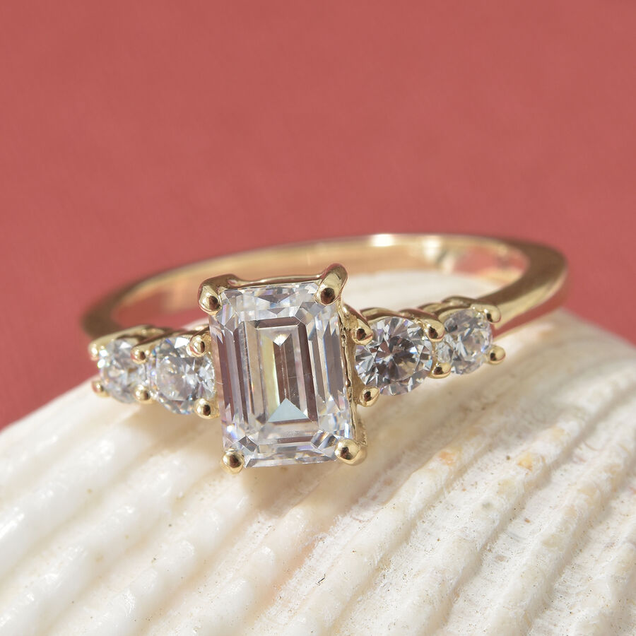 J Francis- 9K Yellow Gold (Oct and Rnd) Ring Made with SWAROVSKI ...